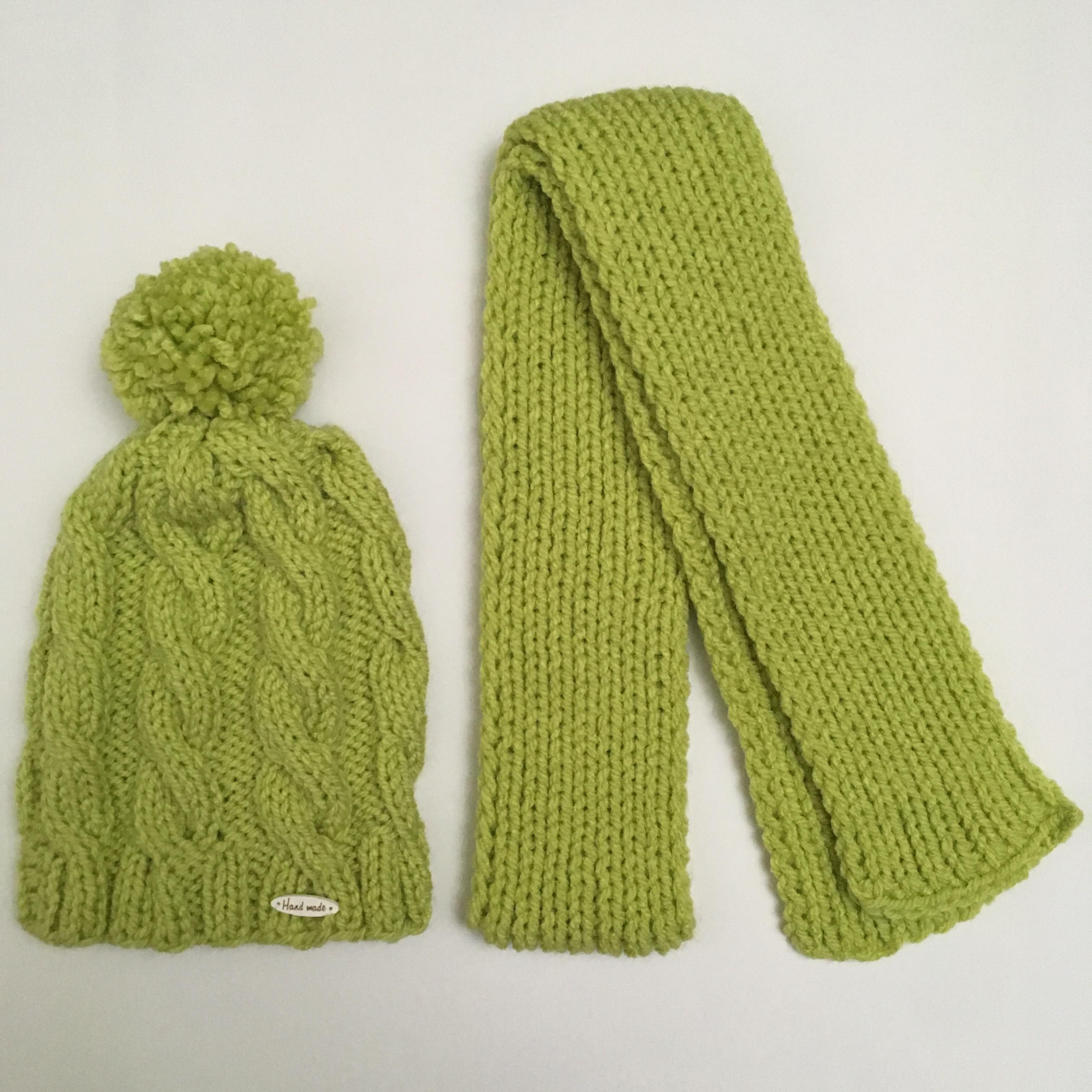 8b81dc326 Detská pletená čiapka so šálom zelená - jupitershop.sk