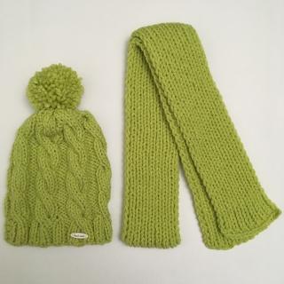 1240e149e Detská pletená čiapka so šálom zelená empty